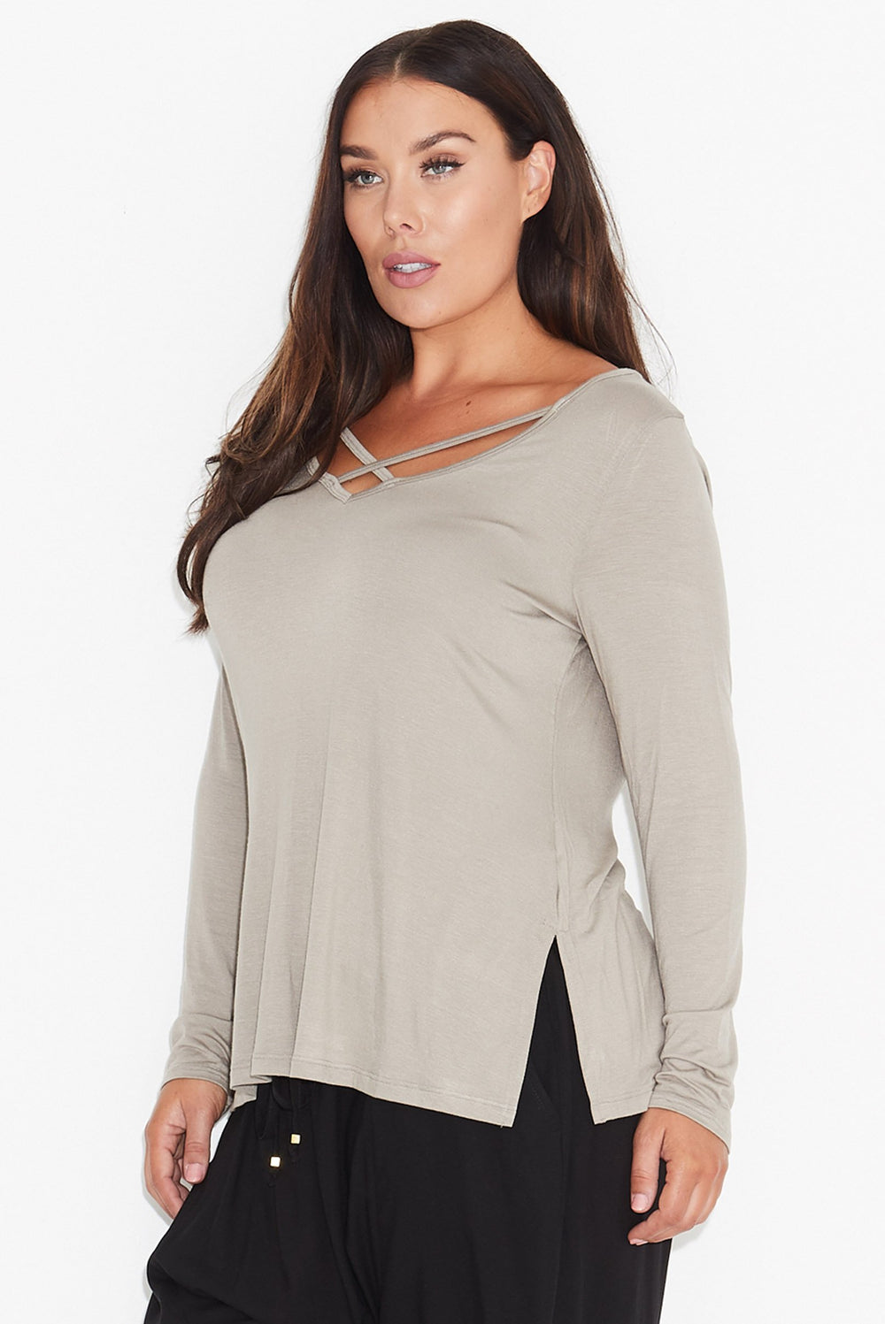 New // 17 SUNDAYS 'Cross Neck Top - Taupe' // Sizes 22-24 & 26