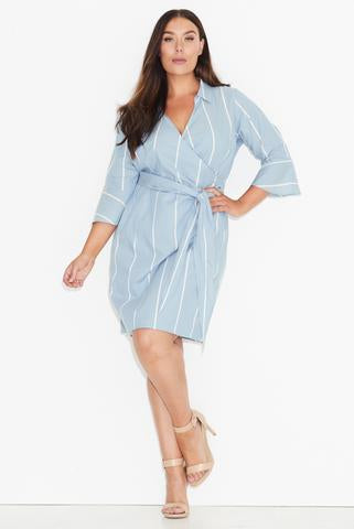 New // 17 SUNDAYS 'Blue Stripe Wrap Shirt Dress' // Size 26