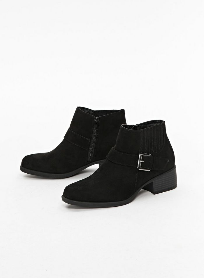 Black Elastic Detail Ankle Boots wide fit