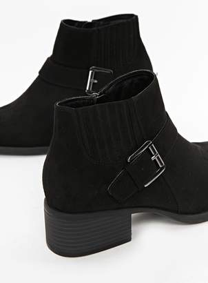 Black Elastic Detail Ankle Boots