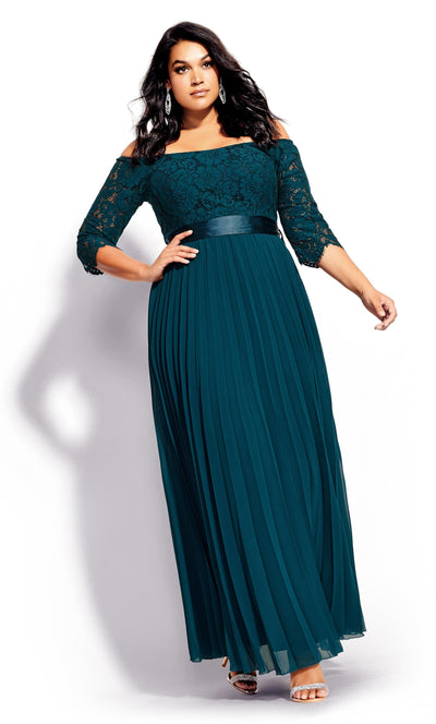CITY CHIC Intriguing Maxi-Dress - Emerald