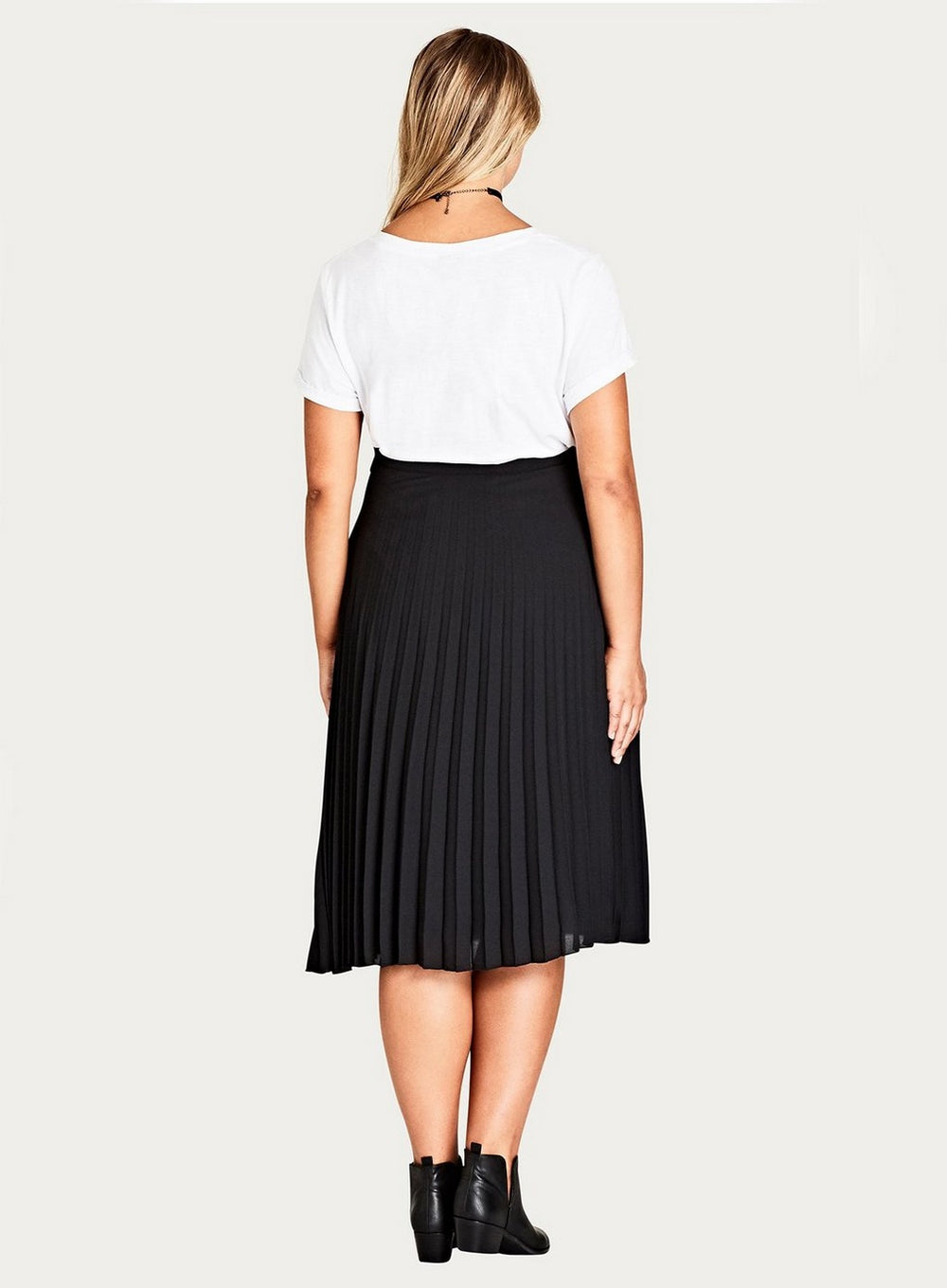 City Chic Black Pleated Skirt