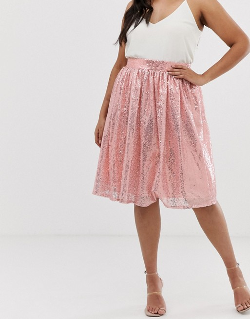 Club L Plus size sequin tulle skater skirt