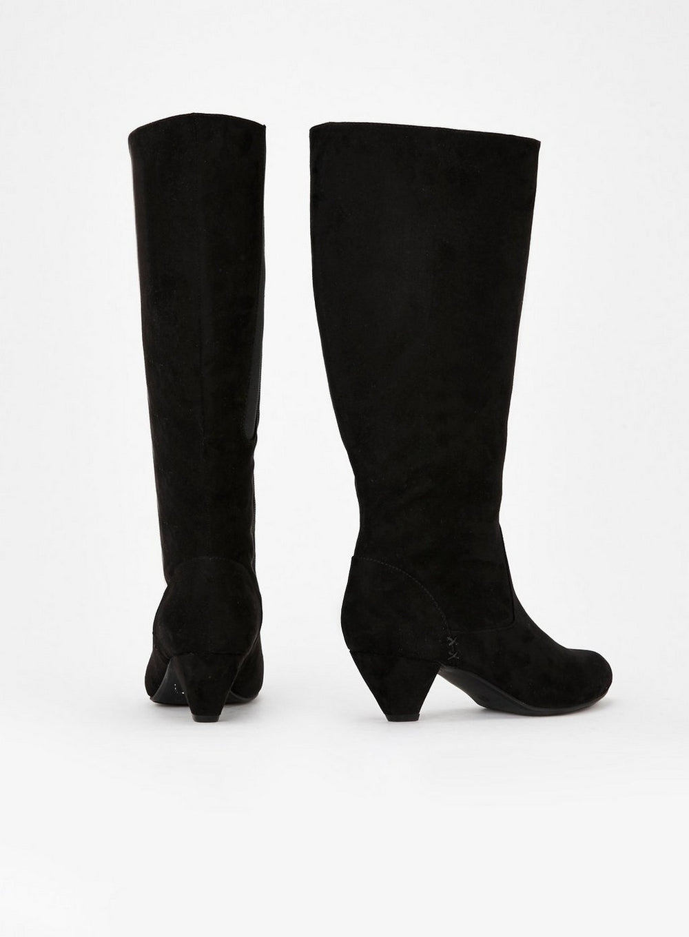 """EXTRA WIDE FIT Black Knee High Heel Boots"" Evans"