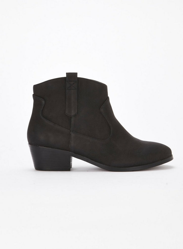 EXTRA WIDE FIT Black Western Ankle Boots