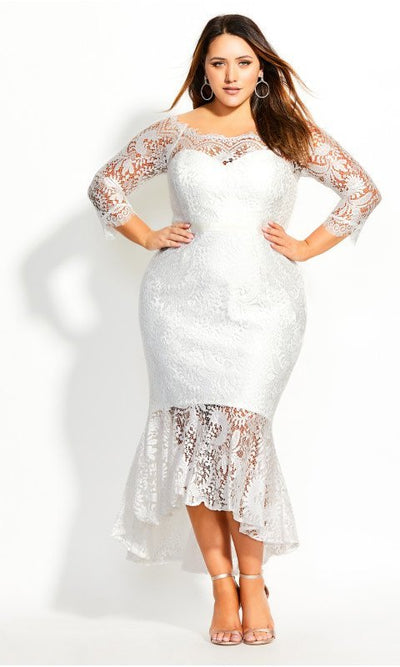 City Chic estella dress white plus size wedding dress nz