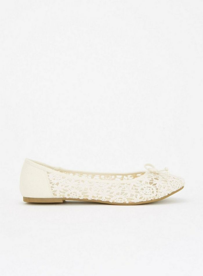 Extra Wide Fit Ivory Lace Bow Ballet Pumps