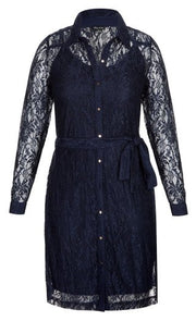 Navy Sweet Collar Dress City Chic