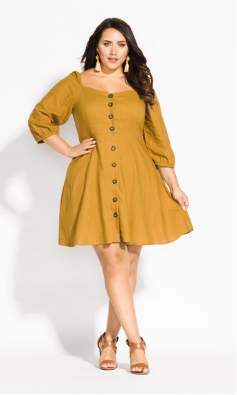 city chic mustard summer fling dress