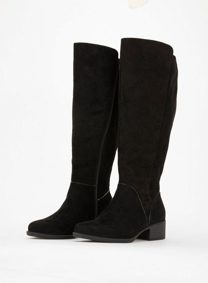 WIDE FIT Black Over The Knee Boots