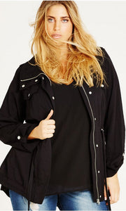 New // CITY CHIC 'Black Lightweight Parka' Jacket // Sizes 14 & 18