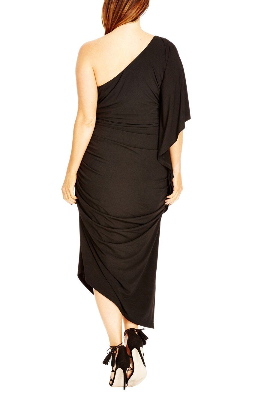 New // CITY CHIC 'Black Drama One Shoulder' Dress // Size 24