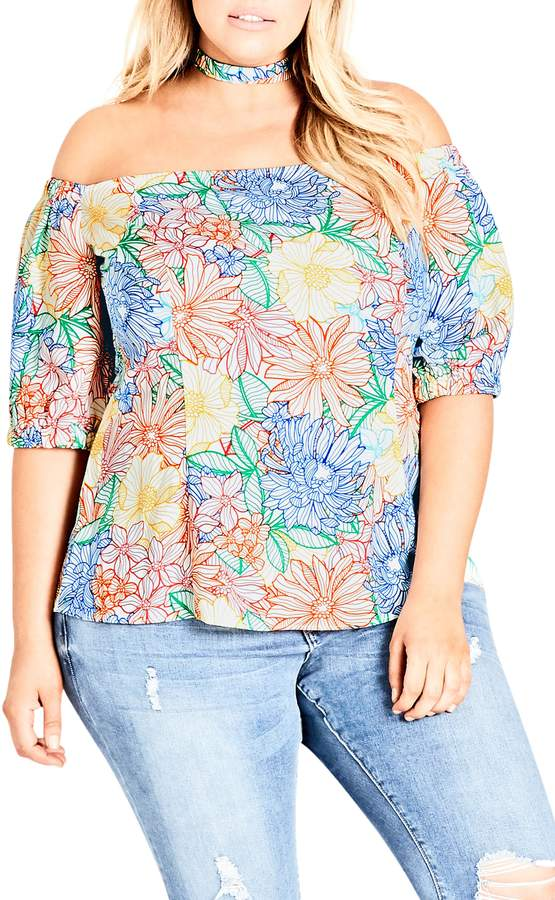 New // CITY CHIC 'Etched Bloom' Top // Size 22