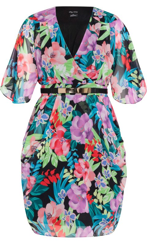 city chic exotic blooms dress