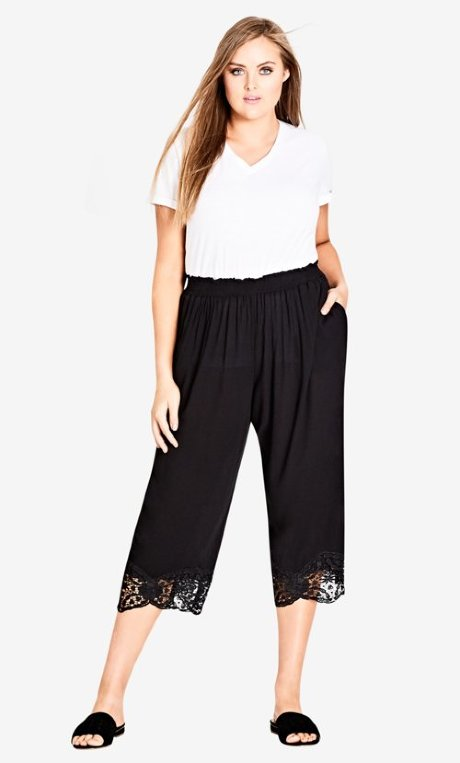 city chic lace trim pants