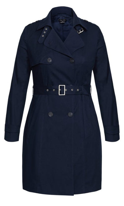 New // CITY CHIC 'Urban Classic' Trench Coat - Navy // Size 16