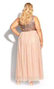 city chic shine bright plus size sequinned maxi dress