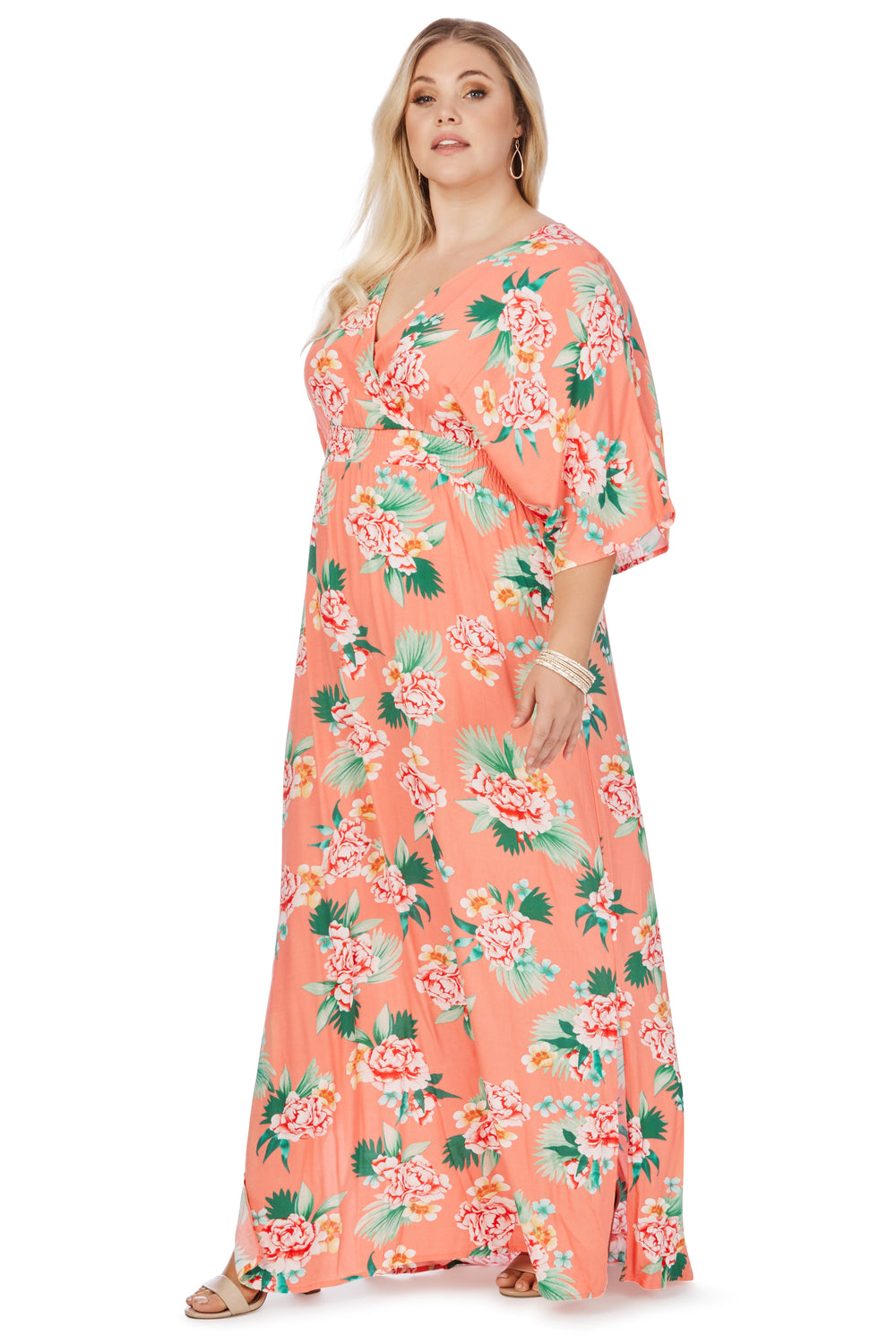 New // BEME 'Elbow Sleeve Kimono Shirred Waist Maxi Dress' // Size 18