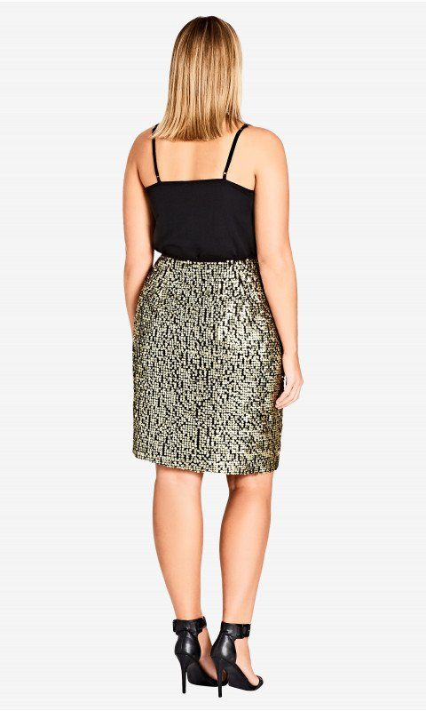New // CITY CHIC 'Dazzle Me' Gold Sequin Skirt // Size 16