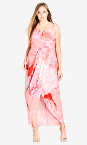 city chic girly rose maxi plus size dress