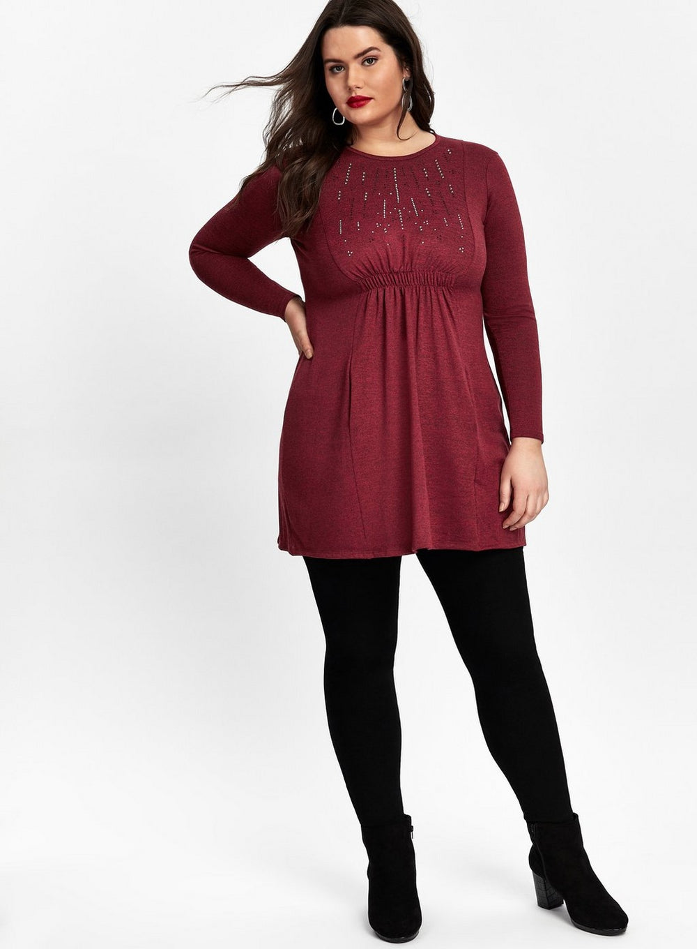 grace red tunic dress
