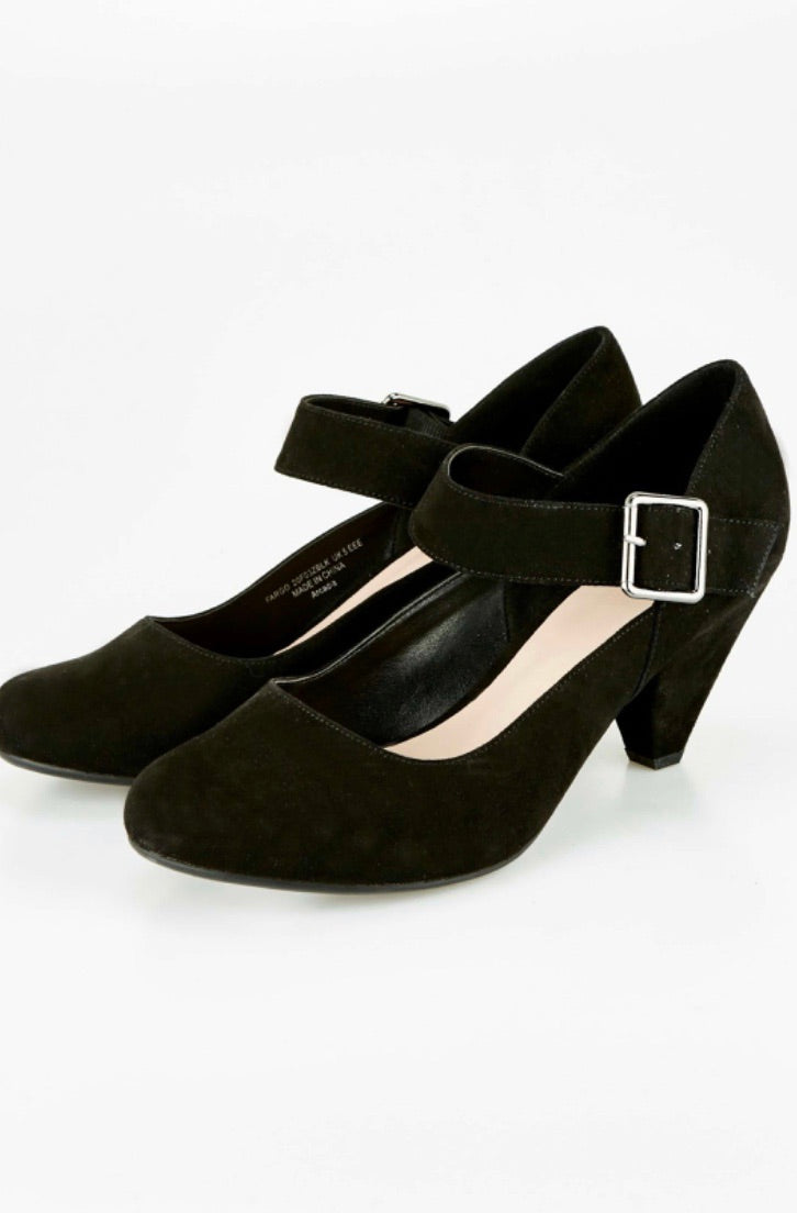Extra Wide Fit Black Cone Heel Shoes evans
