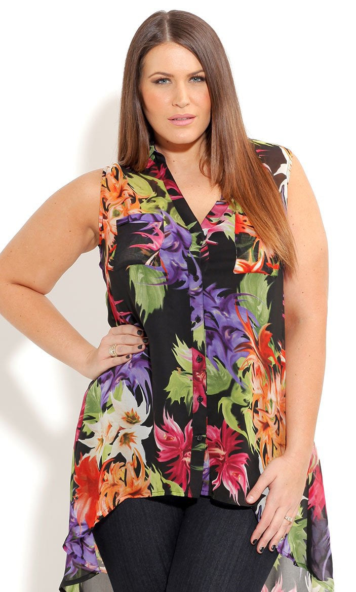 New // CITY CHIC 'Hi Lo Tropical Shirt' // Size 16
