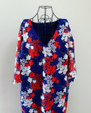 New // ELOQUII Red, Blue & White Floral Dress // Size 20 (Best Suited To A Size 18)