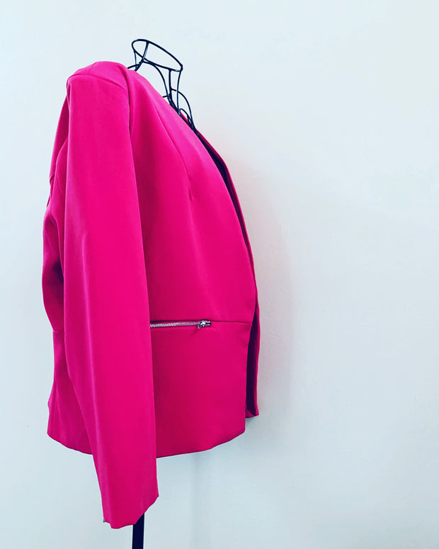 New // PAGANI 'Zip Sleeve Tailored Blazer' - Hot Pink // Size 18