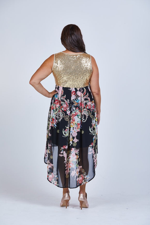 New // STELLA ROYAL 'Pixie Sparkle' Gold Sequin Dress // Size 20-22
