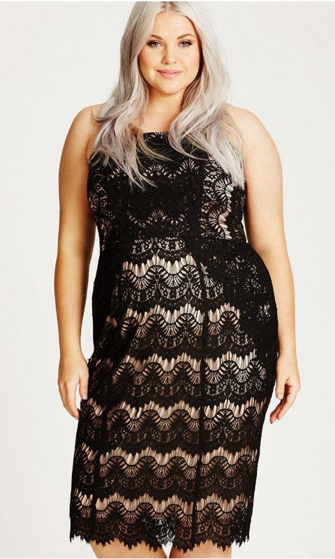 New // CITY CHIC 'Black Lace Siren Strapless Body Con Dress' // Sizes 14, 16, 18, 20 & 22
