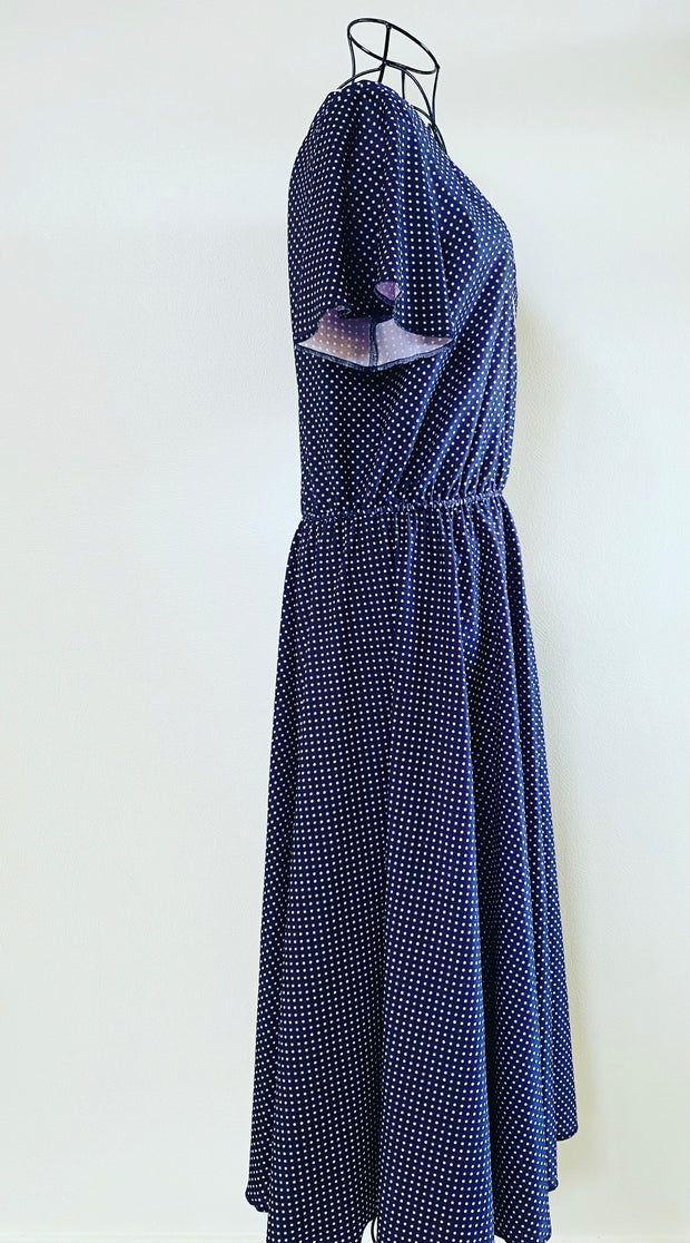 Vintage // STYLES BY HESKETT Navy Polka-Dot Dress // Best Suited To Sizes 14-16