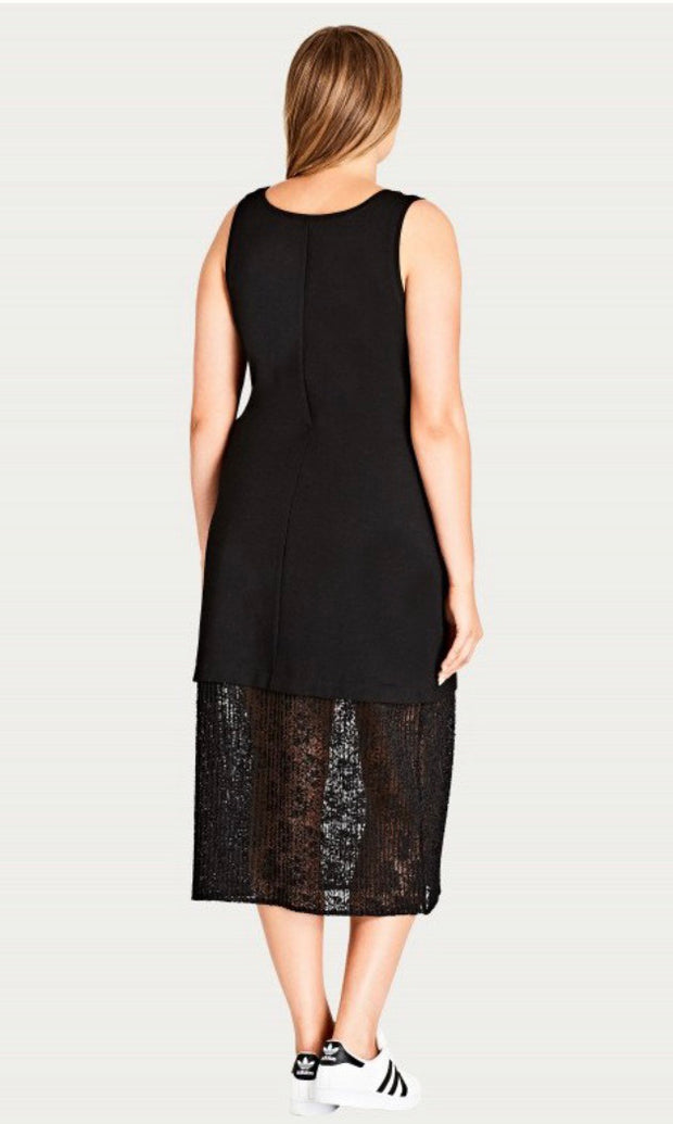 New // CITY CHIC 'Lace Hem Longline Dress' // Sizes 14, 16, 18, 20 & 24
