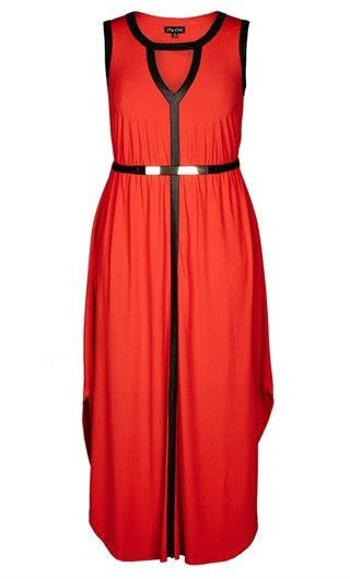 New // CITY CHIC 'Grecian' Faux Leather Trim Keyhole Maxi Dress' // Size 16