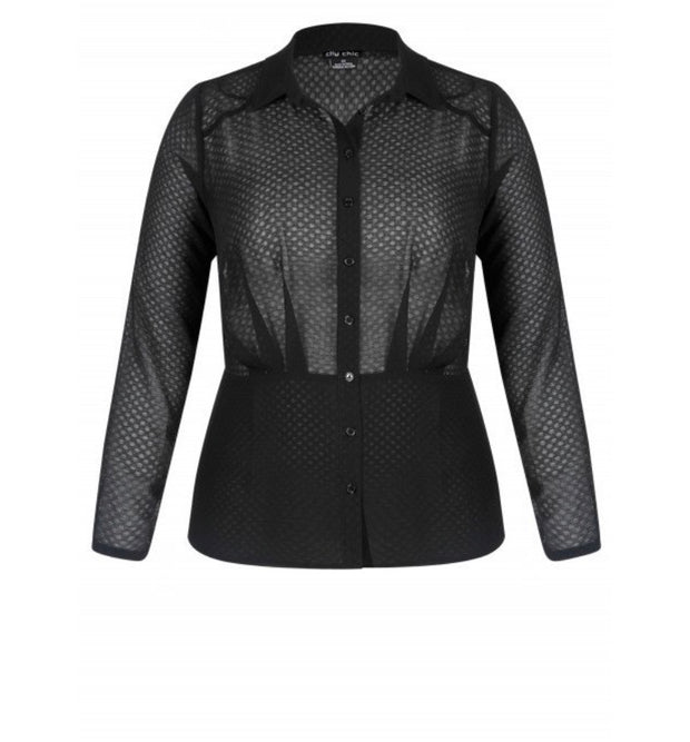 New // CITY CHIC 'Black Snakeskin Shirt' // Size 16