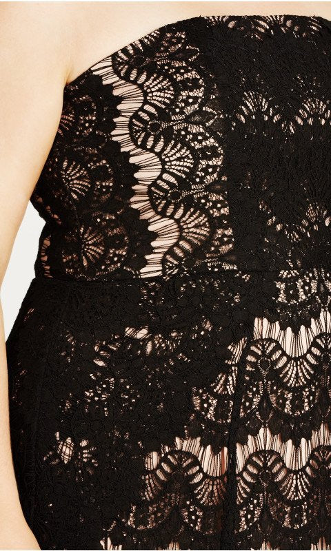 New // CITY CHIC 'Black Lace Siren' Strapless Body Con Dress // Sizes 14, 18 & 22