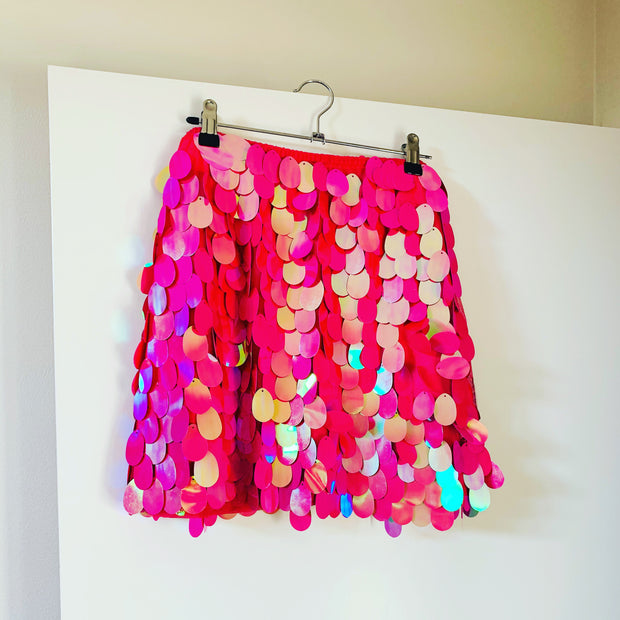 New // MOTEL Candy Pink Sequinned Mini Skirt // Best Suited To Sizes 14-16