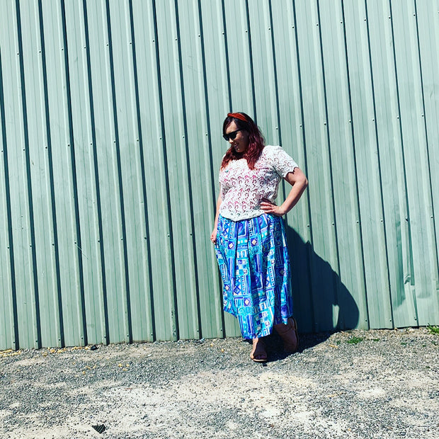 Pre-loved // SYCAMORE 'Shapes' Retro Maxi-Skirt // Best Suited To Sizes 16-20