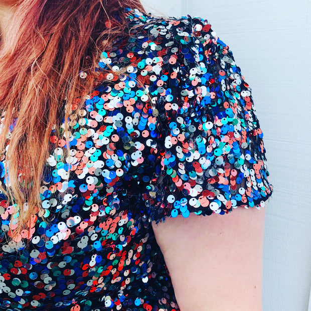 New // Multi-Coloured Sequinned Maxi-Dress // Size 16