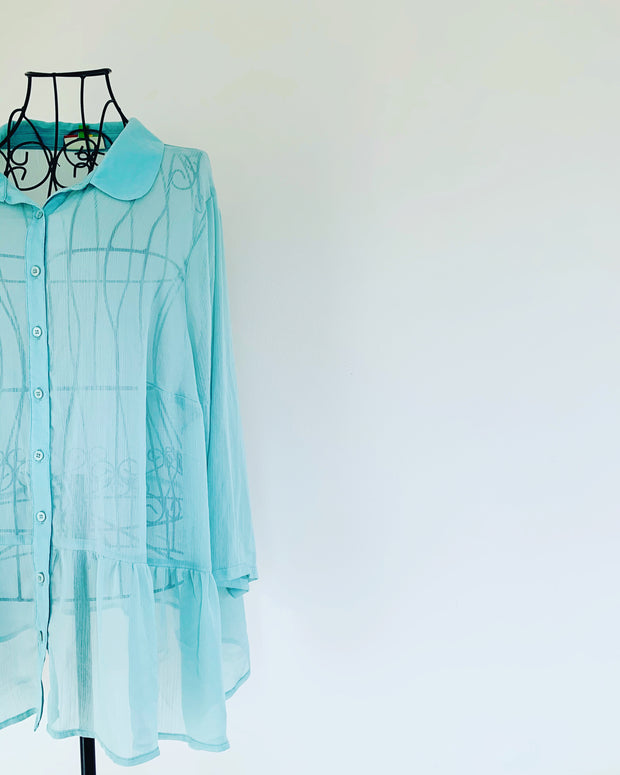 Preloved // FERVOUR Sheer Mint Green Blouse // Best Suited To Sizes 18-20