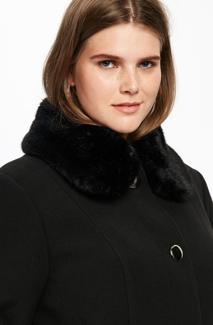 Evans faux fur collar coat