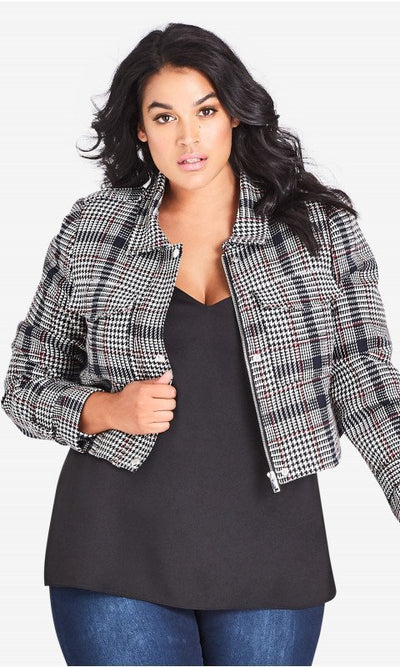New // CITY CHIC 'London Check' Jacket // Size 16