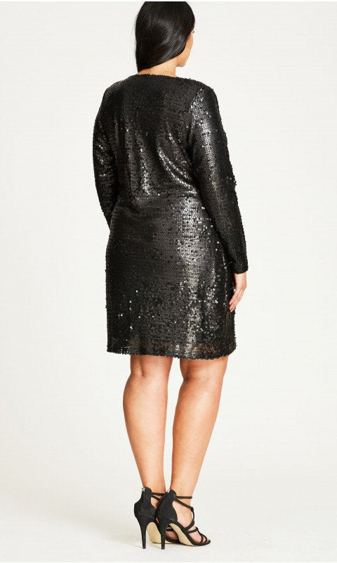 New // CITY CHIC 'Party Time Black Sequinned Dress' // Size 18
