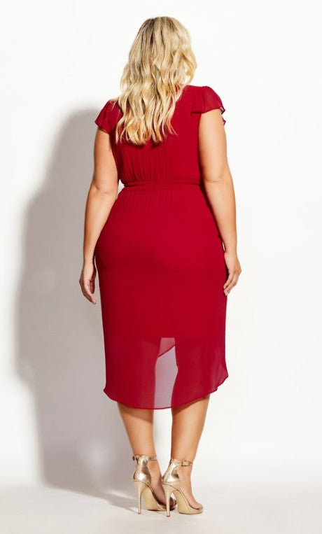 New // CITY CHIC 'Wrap Swing' Dress - Red // Size 24