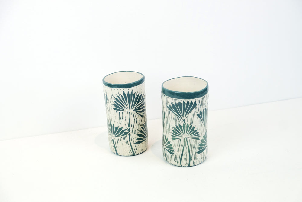 Sgraffito Palm Vases