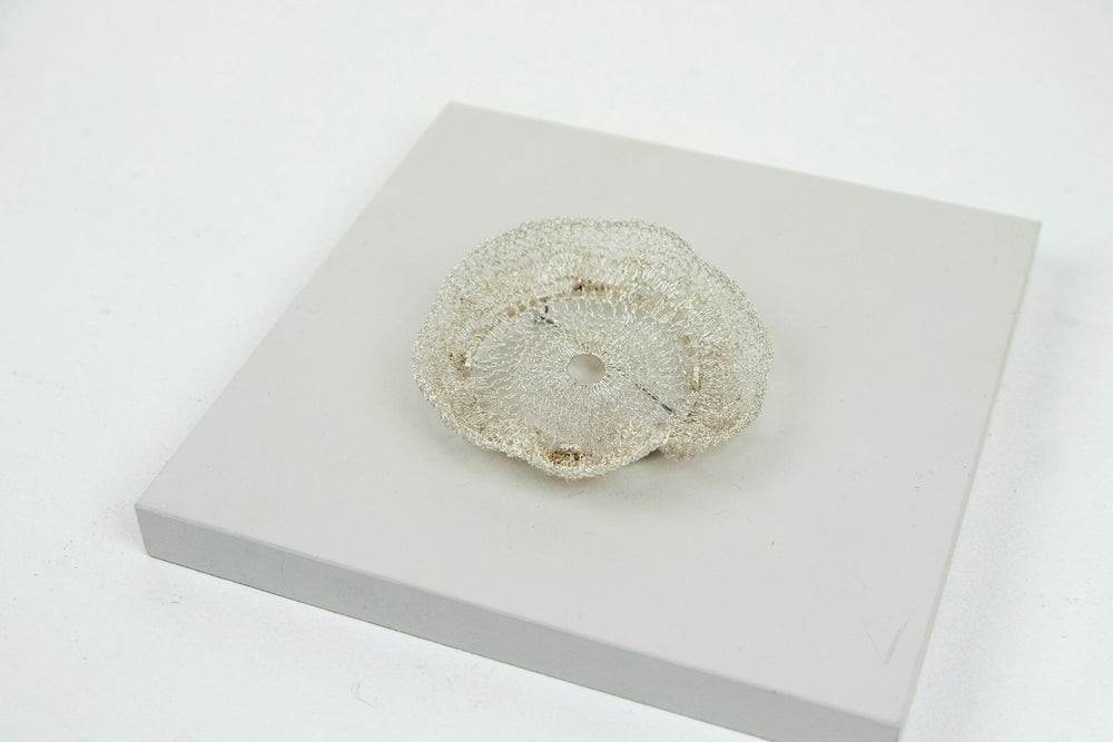 Crocheted Silver Brooch