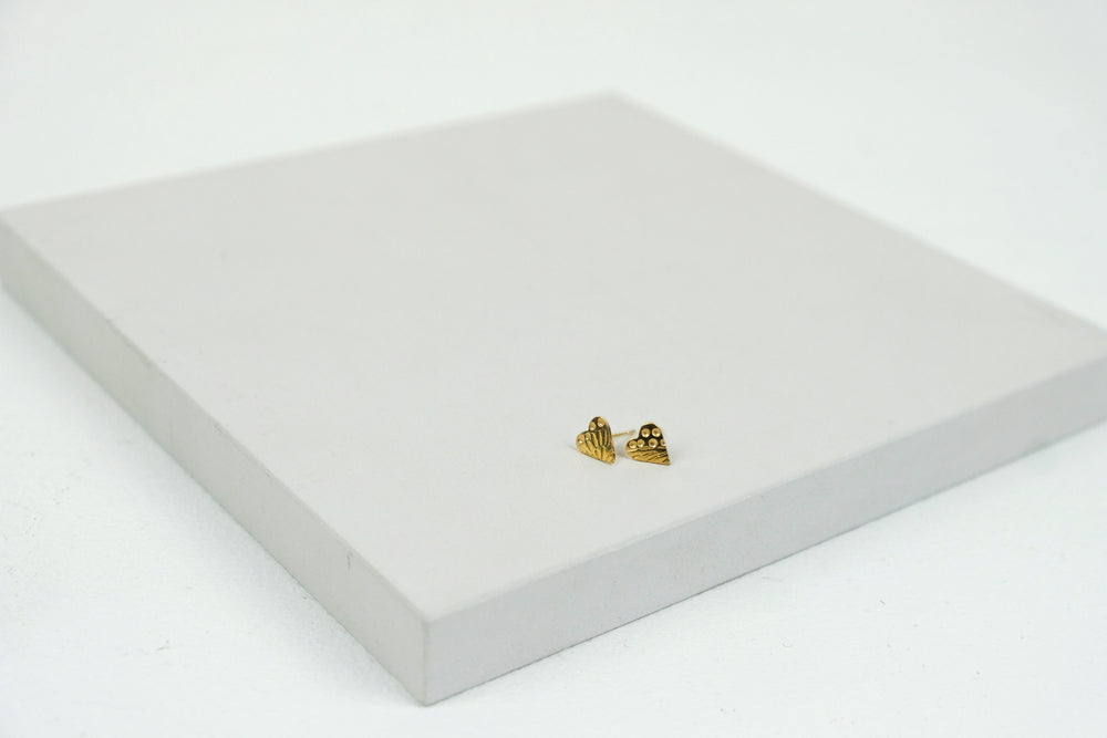 Mini Heart Studs Gold Plated