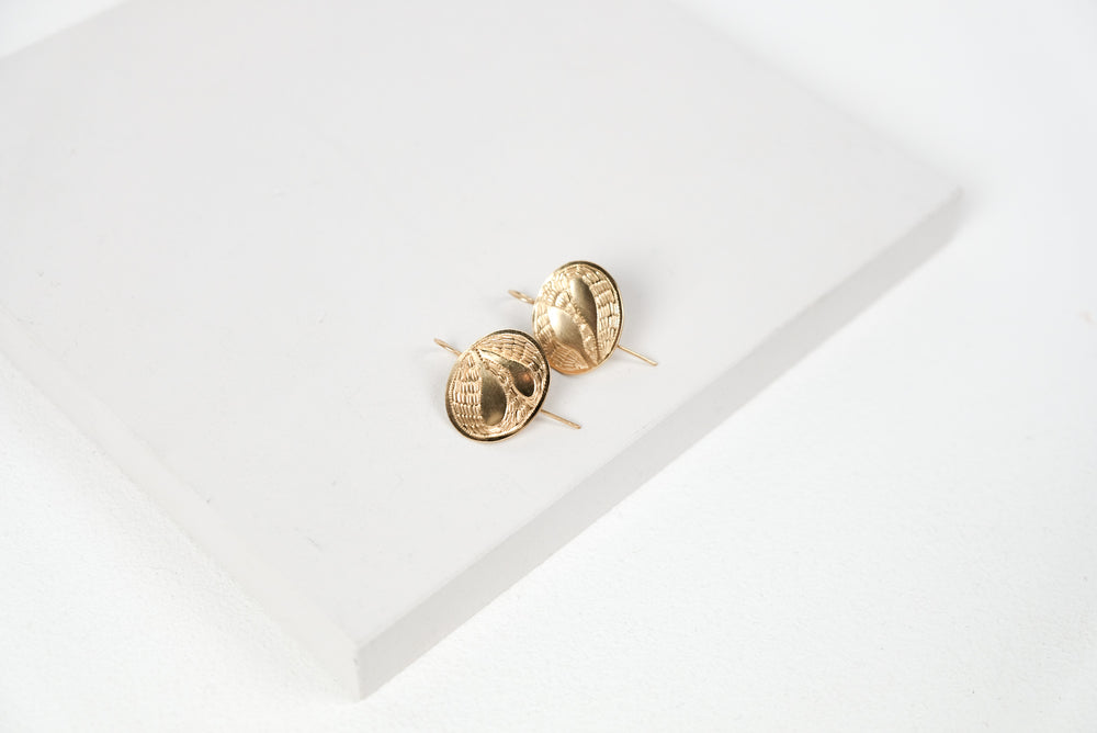 Gold Domed Leaf Earrings
