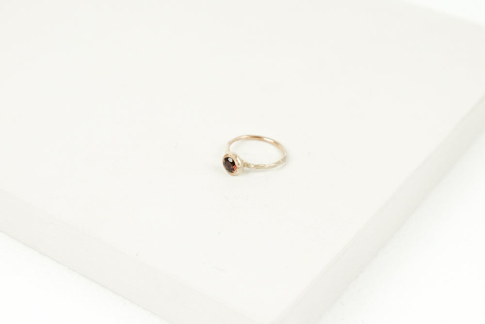 Yellow Gold Garnet Ring