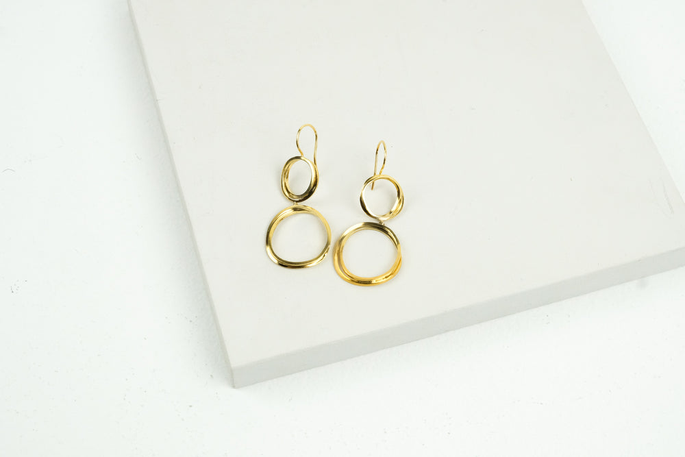 Double Gold Loop Earrings